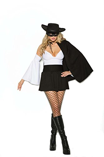 [Elegant Moments EM-99055 Daring Bandit - 4 pc. costume Black/White / L] (Sexy Bandit With Hat Costumes)