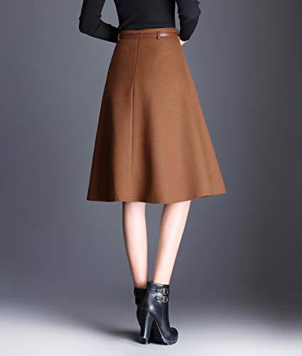 Mode Hiver Haute Unie mi Jupe Laine Couleur Longue en Midi lgant A Chaude Femmes Automne Jupe Kaki Line Taille dxqpE1dI