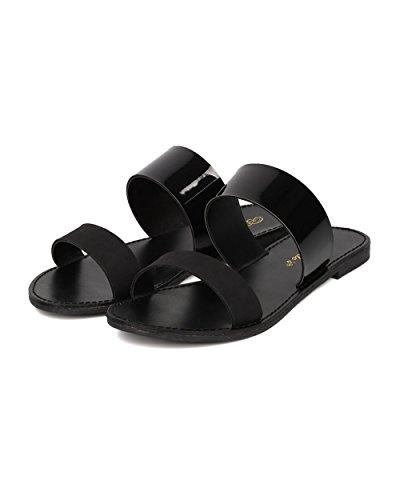 Sandalo Double Band Donna Breckelles - Sandalo Piatto Open Toe - Slide Double Band - Mix Nero Hk74