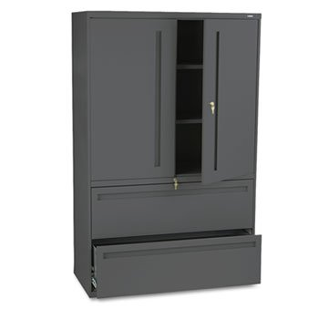 HON Products - HON - Brigade 700 Series Lateral File With Storage Cabinet, 42 x 19-1/4 x 67, Charcoal - Sold As 1 Each - Hinged doors conceal 36 1/4amp;quot; - Hon Binder