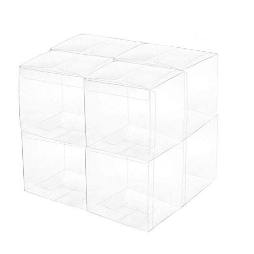 Yunko 50Pcs PET Transparent Boxes for Gift Candy Treat Cupcake Pack with free Sticker, Wedding Party supply and Baby Shower Favors -