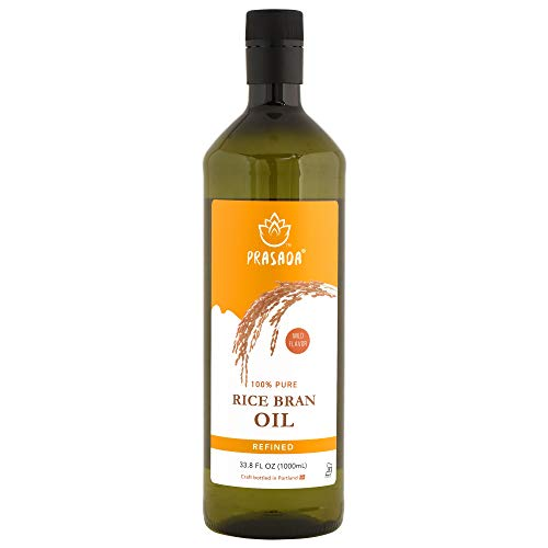 Prasada 100% Pure Rice Bran Oil (1,000ml) -Refined, Expeller-Pressed, BPA-Free Food-Grade Plastic Bottle | Excellent for Deep-Frying, Baking and Broiling