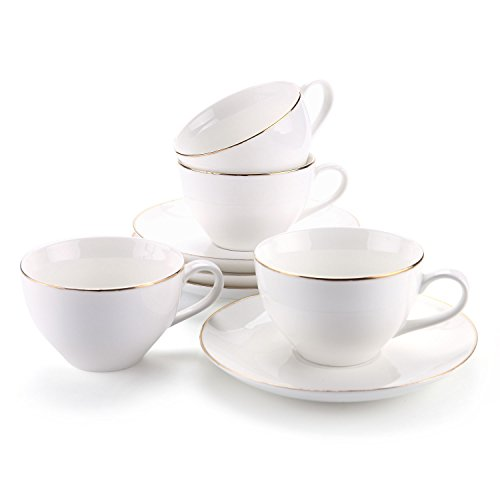 Rachel's Choice 145ml/5 oz. Golden Edge Espresso Cups and Saucers Set with Handle Tea Cup and Saucer Fine Durable Porlecain White sets of 4 - Edge Tea Saucer