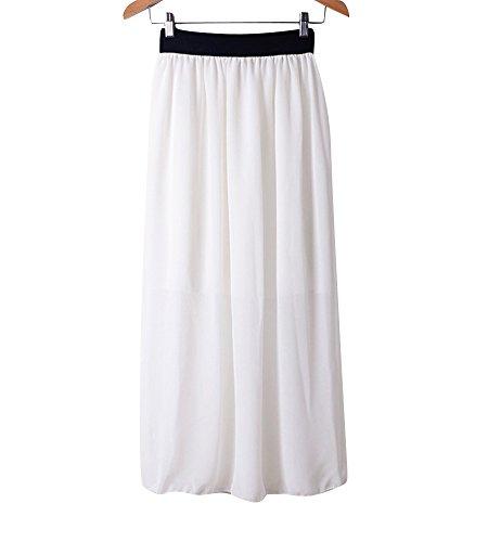 Robe Blanc Longue Jupe Maxi Mousseline Femme lastique Molly Soire zYSHRq4