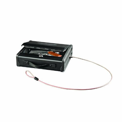 SentrySafe Pistol Safe, Portable Gun Safe with Key Lock & Tether Cable, Single Gun Capacity, PP1K