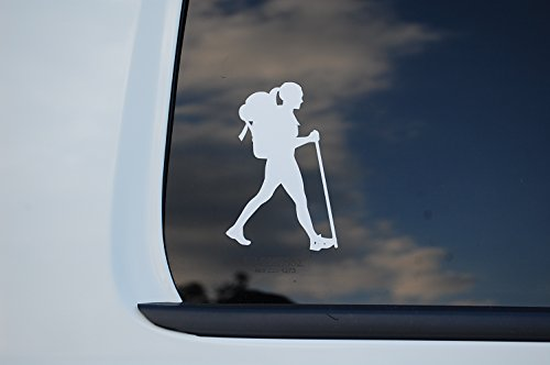 Hiking Girl Sticker Vinyl Decal CHOOSE COLOR & SIZE!! Woman