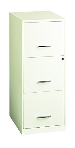 Office Dimensions 18'' Deep 3 Drawer Vertical File Cabinet with Lock for Office Storage, Letter-Sized, Pearl White by Space Solutions (Image #1)