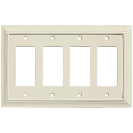Brainerd Wood Architectural Quad Decorator Wall Plate Almond WLM