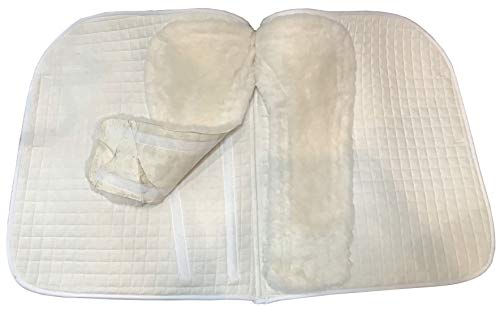 (Dressage Sheepskin Saddle Pads, with 2 Removable Lambskin Attachments for Easy Cleaning | PRI Pacific Rim International (White, Dressage))