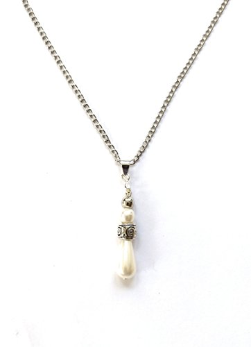 White Pearl Stacked Drop Fashion Pendant 20 Inch Necklace (Contemporary Faux Necklace)