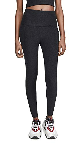 Beyond Yoga Women's Spacedye Out of Pocket High Waisted Midi Leggings, Darkest Night, Black, Large
