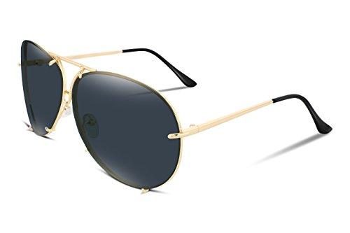 FEISEDY Stylish Aviator Oversized Sunglasses For Women Men Metal Frame UV400 Lens - Oversized Sunglasses Aviator Black