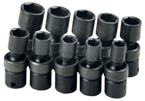10 Piece 3/8'' Drive 6 Point Swivel Metric Impact Socket Set by SK Hand Tool