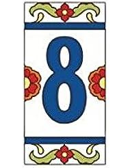"3"" X 6"" Ceramic Tile Address House Number Talavera White #8 EIGHT"
