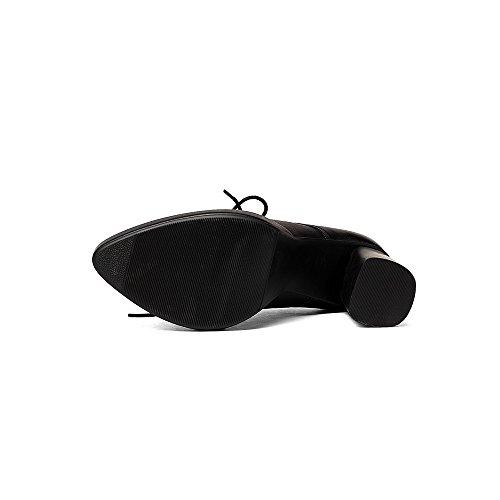 Nine Seven Cuero Moda Plataforma Puntiagudos Zapatos de Cordones de Tacón de Grueso para Mujer negro