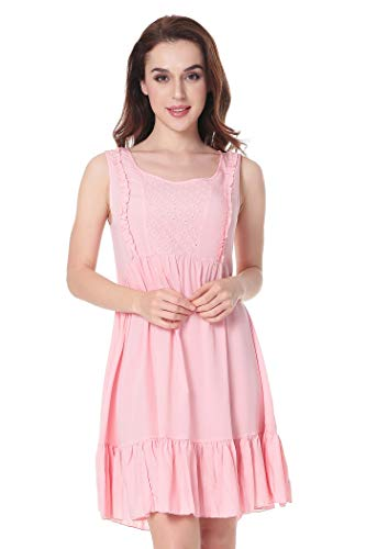 (Womens Pajamas Victorian Vintage Sleeveless Sleepwear Nightgown Ruffle Short Dress Pink )