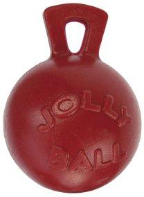 "Jolly Pets Tug-n-Toss - Heavy Duty Chew Ball w/ Handle (Red, 10"")"