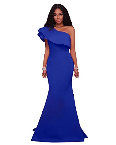 MEI&S La mujer hombro oblicuo Prom elegante vestido Maxi Larga Noche vestido de fiesta Blue