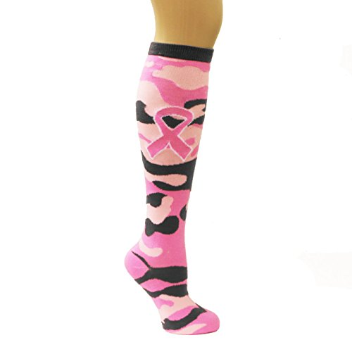 Pink-Ribbon-Camo-Camouflage-Breast-Cancer-Awareness-Knee-High-Socks-Sports-Teams