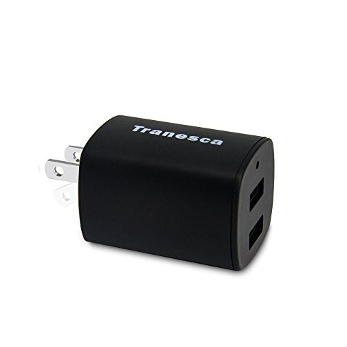 Tranesca Dual USB Port wall charger cube with foldable plug for iPhone X/8/7/6S/6S Plus/6 Plus/6, Samsung Galaxy S9/S8/S7/S6/S5 Edge, LG, HTC, Moto, Kindle and More-Black