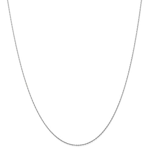 White Gold Ring Snake (14k Gold Rope Chain Necklace with Spring Ring (0.4mm) - White-Gold, 16 in)