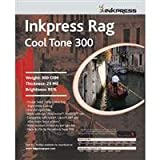 Inkpress Rag Cool Tone 300 Double Sided, Bright White Matte Inkjet Paper, 23 mil, 300 gsm, 95% Bright, 11x14'', 25 Sheets