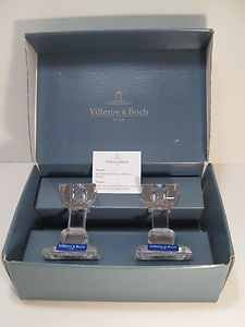 Villeroy & Boch Crystal Candle Holders Set Pair Candlestick Candle Holder SIENA V&B Since 1748 Made in AUSTRIA