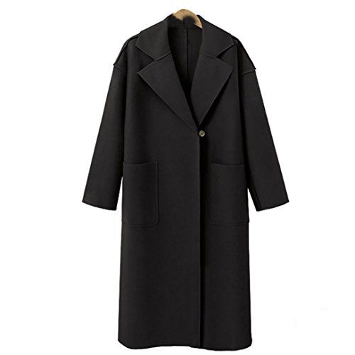 Rosiest Womens Cardigan Outwear, Women Long Sleeve Oversize Loose Cashmere Woollen jacket Cardigan Coat Overcoat (Black, Asion Size: S/US:34) - Cashmere Long Sleeve Coat