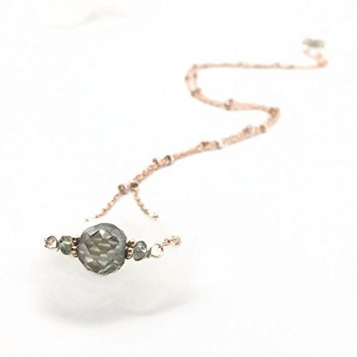 2.0 Carat Antique Diamond Sapphire | Rose Gold Sterling Silver Gemstone Necklace | Unique Designer Jewelry Gifts For Her ()
