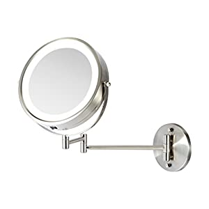 Ovente Wall Mount Makeup Mirror, Battery Operated LED Lighted, 1x/10x Magnification, 8.5 inch, Nickel Brushed (MFW85BR1x10x)