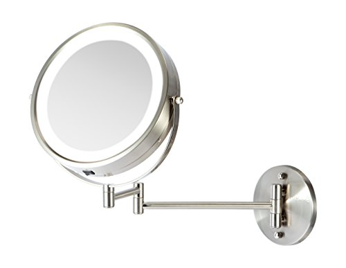 Price comparison product image Ovente Wall Mount Makeup Mirror, Battery Operated LED Lighted, 1x/10x Magnification, 8.5 inch, Nickel Brushed (MFW85BR1x10x)