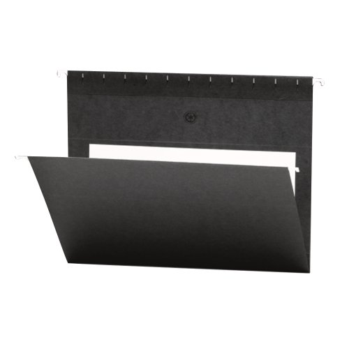 Smead Hanging File Folder with Interior Pocket, Letter Size, Black, 25 per Box (64427)
