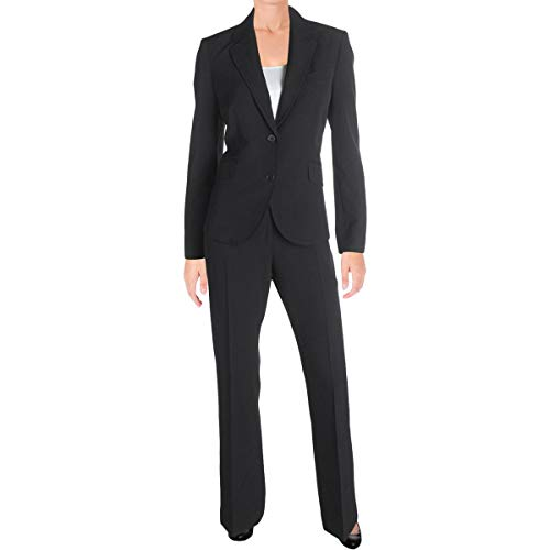 Anne Klein Womens Two-Button 3-Piece Skirt Pant Suit Black 6