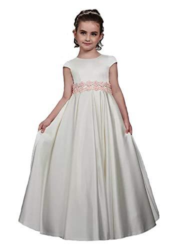 Floor Length Satin Jewel Neckline Flower Girl Dress First Communion Ball Gown US 6 Ivory