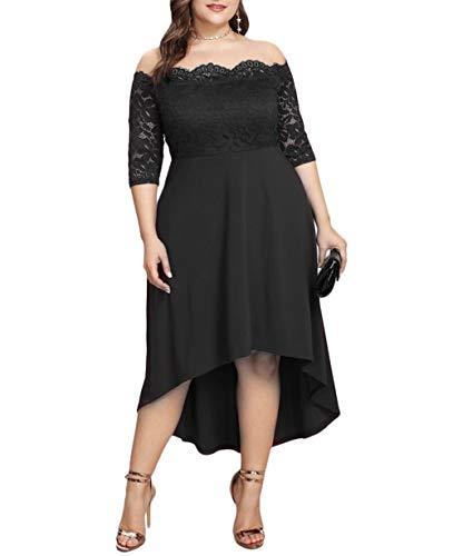 d614895e9b ESPRLIA Women s Plus Size Off The Shoulder Vintage Swing Midi Party Formal  Dress