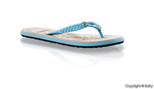 Fashy 7656 - Mujer Zapatillas de dedo del pie Zapatos de dedo del pie Chanclas en el 3 diferentes colores Turquesa