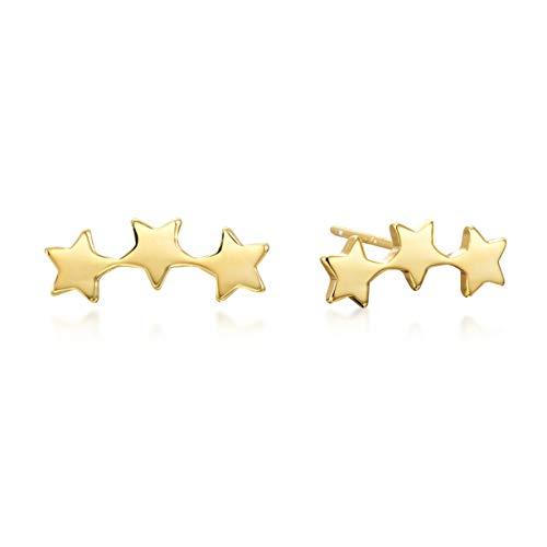 Silver Gold Over Stud (Star Climber Earrings in Gold over Sterling Silver)