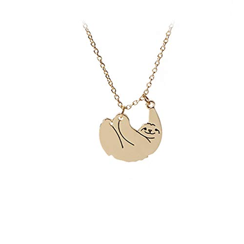 (Eleusine Animal Necklace Jewelry Protector Slow Motion Sloth Zoo Animal Fashion Necklaces Pendants for Women Girls (Gold))