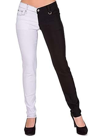 Pantalón de pitillo tipo jeans de Banned modelo Night After Night (Negro/Blanco) - 34