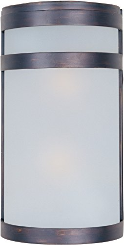 Maxim 5002FTOI Arc 2-Light Outdoor Wall Sconce Lantern, Oil Rubbed Bronze Finish, Frosted Glass, MB Incandescent Incandescent Bulb , 60W Max., Dry Safety Rating, Standard Dimmable, Glass Shade Material, Rated - Mount Wall Arc Outdoor