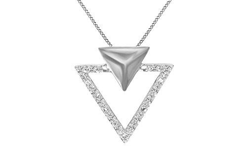 White Natural Diamond Triangle Pendant Necklace 14k White Gold Over