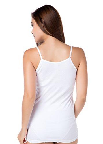3er-Pack Damenunterhemd Feinripp Spaghettitop Weiss ohne Seitennaht 100% gekämmte Baumwolle 36-58 stylenmore
