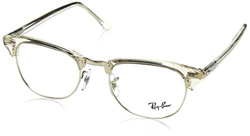 Ray-Ban RX5154 Clubmaster Square Eyeglass Frames, White Transparent/Demo Lens, 49 ()
