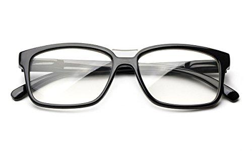 Newbee Fashion - Pozo Slim Squared Modern Design Fashion Clear Lens Glasses Black