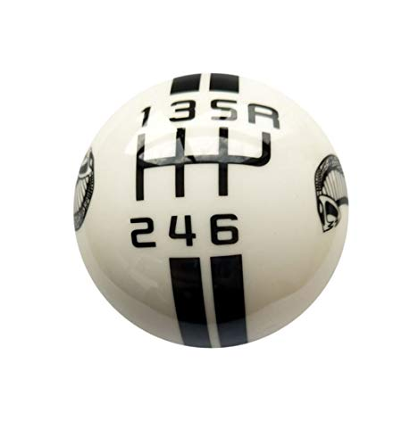 (Gear 6 Speed Round Ball Type R S Shifter for Mustang Shelby GT 500 Cobra Manual Gear Shift Knob Trim Selector Red White Black (White, R on the right))