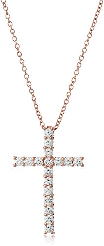 Rose-Gold Plated Sterling Silver Cross Pendant Necklace set with Swarovski Zirconia (2 cttw), 18""