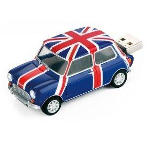 Mini Cooper Blue British Pavilion USB Flash Drive - Data Storage Device - 4GB - Key Ring Included