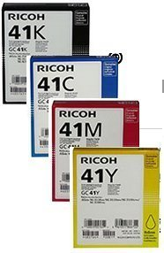 Full Set of Ricoh Brand Cyan Yellow Magenta and Black Ink Toner for Ricoh Aficio Sg3100snw Ricoh 3110dn 3110dnw/ 3110sfnw/ 7100dn Black Ink (Gc 41k) (2,500 Yield) Black / 2,200 Colors