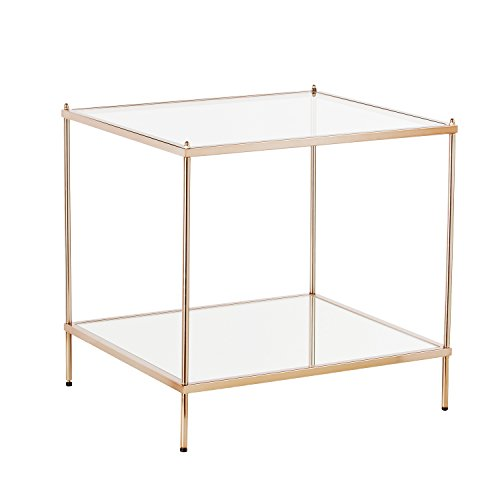 Knox End Table - Metallic Gold Metal Frame w/ Glass Tops - Glam Style Décor