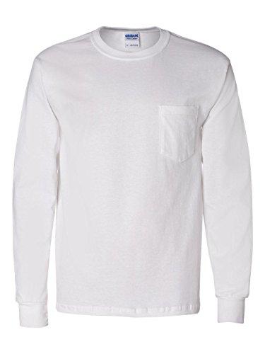 Gildan Men's Seamless Chest Pocket Comfort jersey T-Shirt, X-Large, White  (T-shirt Sleeve Pocket Long)